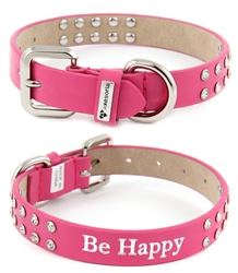 "3/4"" Crystallized dog Collar adorned with a two row of faceted crystals with a stamp "" Be Happy"""