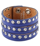 "1.5"" width leather wristband  leather with 6 strands cut out design and alternating rhinestone and silver studs."