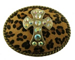 Oval Antique Brass Buckle with Rhinestone Cross
