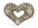 Rhinestone Heart with Flower Belt Buckle