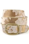 "1 "" 1/4 Cow print hair calf leather belt"