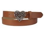 "1"" Engraved hearted buckle in shiny silver with bright red interchangeable strap"