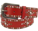 1.5¡± width jean belt with multi color studs and crystal design