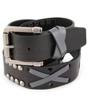 "1.5"" Premium top grain belt with handmade leather lacing & studs detail"