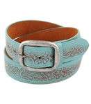 "1.5"" VINTAGE EMBOSSED FLORAL PRINT TURQUOISE LEATHER BELT"