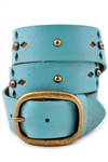 "1.5"" VINTAGE TURQUOISE LEATHER BELT W/CRYSTAL AND OVAL BUCKLE"
