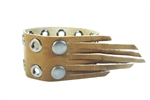 1 1/2'' GENUINE LEATHER CUFF WITH EYELET & FRINGE