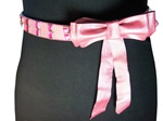"1 3/8""  width  bow belt with hot pink crystal"