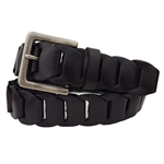 Oil Tanned Rectangular Buckle Braided Genuine Leather Link Belt