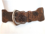"High Waist 2 1/2"" wide snake printed elastic belt"