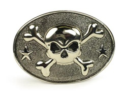Oval buckle with skull and cross bone