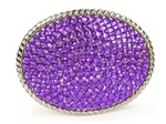 Oval Purple Rhinestone Western Belt Buckle