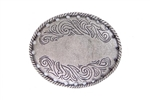 Flower engraved oval buckle