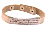Single wrap leather bracelet with inspirational plaque