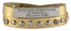 Bible verse double wrap leather wristcuff with stud and crystal