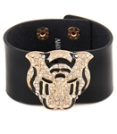 "1.5"" genuine leather cuff with gold leopard deco with crystal"