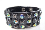 Cowhide Rock Star Distressed Studded Wristband