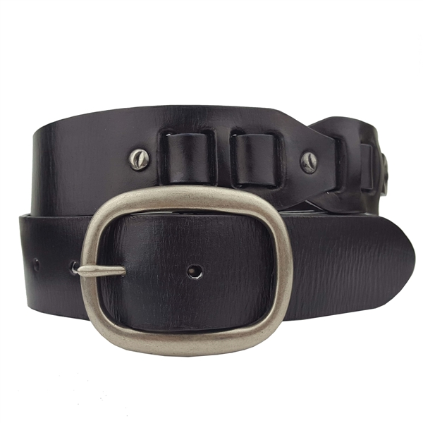 hammered nail studs genuine leather link belt