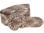 Cracked Print Metallic Braided Woven Belts