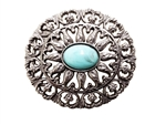 Flower Fashion Oval Turquoise Stone Buckle