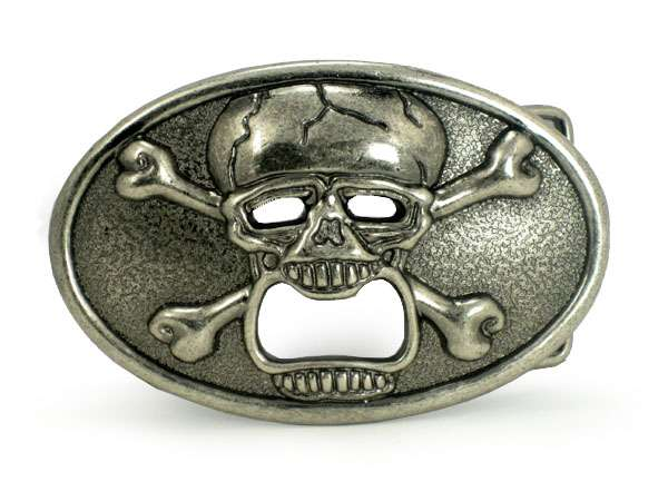 skull with cross bone bottle opener oval belt buckle sunway wholesale. Black Bedroom Furniture Sets. Home Design Ideas