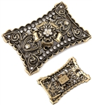 Rectangular Cut out Flower Rhinestone Belt Buckle