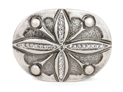 Religious Cross Rhinestone Square Silver Belt Buckle