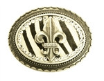 Oval Rhinestone Fleur De Lis with Leather inlay buckle in Zebra