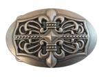 Oval Fleur De Lis Flower Cut-out Belt Buckle