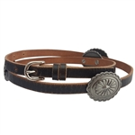 Western sunburst Concho  Gunmetal Decor in a Genuine Distress Leather skinny belt..