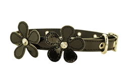 Double Flower Rhinestone Dog Collar