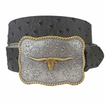Quality Western Buckle in Ostrich Belt