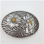 Oval Sunflower Engraving Belt Buckle