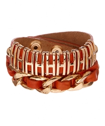 Double wrap around wristcuff in genuine leather