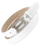 "1"" Skinny Patent Leatherette belt Strap With Square Rhinestone belt buckle."