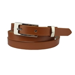 3/5'' Skinny Belt Regular Leatherette Strap with Shiny Silver Buckle.