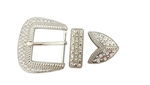 Fancy Rhinestone buckle set  in Shiny Silver finish