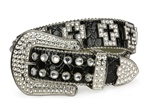 Ladies Rhinestone Cross Belt