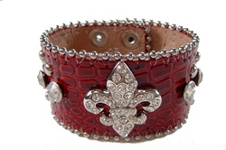 Rhinestone Studs and Fleur De Lis Croco Wrist Band