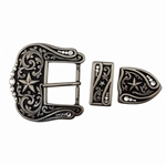 3 pieces Western buckle set with star design in antique silver.