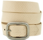 Khaki Snake with oval center bar buckle.