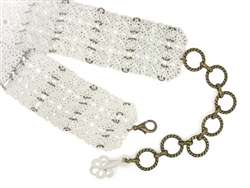 Ladies Square Flower White Ornament Wide Metal Chain Belts