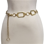 Chain belt with small  round ring & big rectangular ornaments