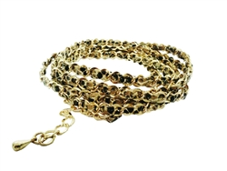 Multi wrap around gold chain lacing with leather