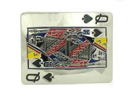 Rectangular Playing Cards Gueen Belt Buckle