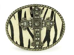 Oval Religious Cross Rhinestone Zebra Leather Belt Buckle