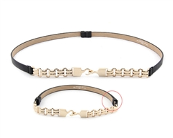 Luxurious Gold plated chain link front with leatherette adjustable strap.