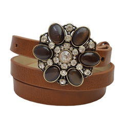 SKINNY BELT WITH CATEYE STONE FLOWER BUCKLE.
