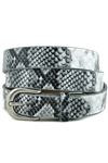 WHITE PYTHON BELT WITH ANTIC SILVER ROUND BUCKLE.
