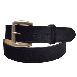 "1 1/8 "" Black Velvet Belt in Bonded Leather With Antic Silver Buckle."